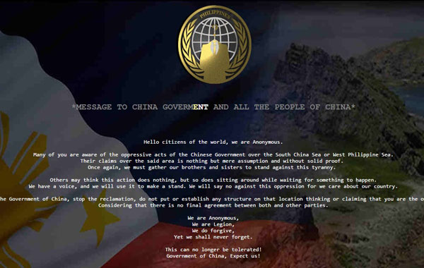 Screenshot mula sa isang Chinese website hinack ng Anonymous Philippines