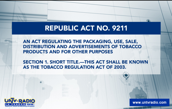 republic act 9211 the smoking ban [republic act no 9211] an act regulating the packaging, use, sale section 1 short title- this act shall be known as the tobacco regulation act of 2003 sec 2 smoking ban in public places - smoking shall be absolutely prohibited in the following public places: a.